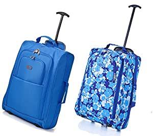 Set of 2 Frenzy/5Cities 55cm/50cm Lightweight Trolley Hand Luggage Bag - Approved Ryanair & Easyjet 2 Wheel Cabin Carry On Board Baggage. 33L/42L Travel Suitcase Bag with Padlock (Blue 50CM/Blue Floral 55CM)