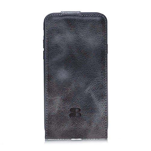Burkley Apple iPhone X Leder Hülle   Handyhülle   Ledertasche   Handytasche   Schutzhülle   Flip Cover   Case   Etui   Bruchfester Innenschale   Kartenfach (Schwarz) Arktis Grau