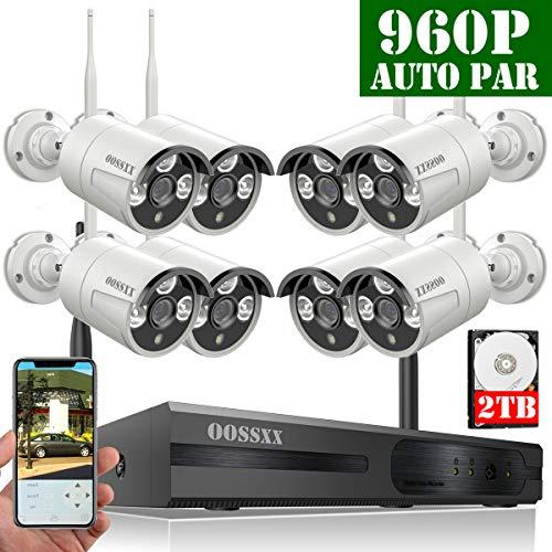 【2019 Neu】 Überwachungskamera Set System Videoüberwachung CCTV 1080P NVR Rekorder Überwachungskamera Outdoor Mit 8 960P Innen/Außen IR Nachtsicht Bewegungsmelde,Kamera Durch OOSSXX, 2TB HDD Wireless Dvr Security System
