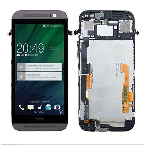 HTC One M8 831C Display im Komplettset LCD Ersatz Für Touchscreen Glas Reparatur (Grau + Rahmen) (Htc Digitizer Ersatz Bildschirm)