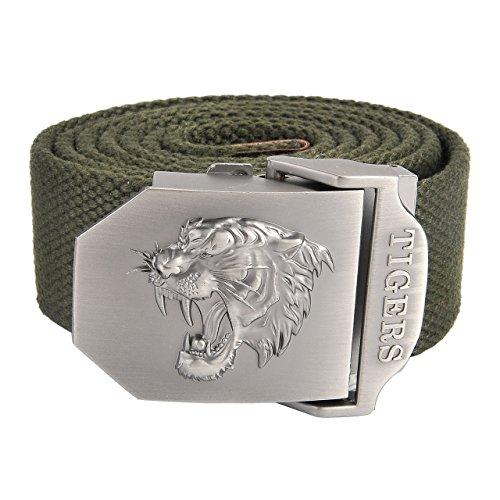 Faleto Herren Militär Gürtel Stoffgürtel mit Tiger kopf Schnalle Leinwand Canvas Jeansgürtel Belts 140cm + Original Geschenkbox (Militär Grün)