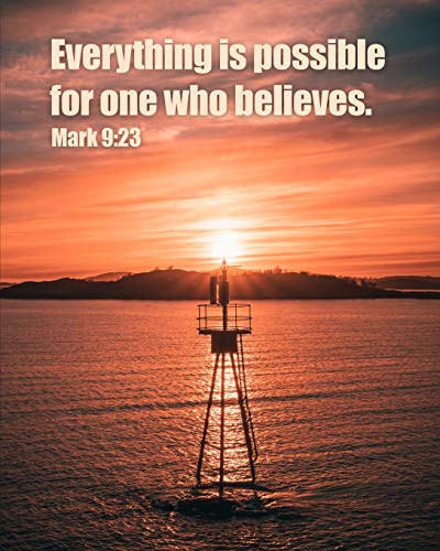Everything is Possible for One Who Believes. Mark 9:23: Prayer Journal for Men with Scripture Verse - Matte Cover with a Lighthouse on the Ocean - 8