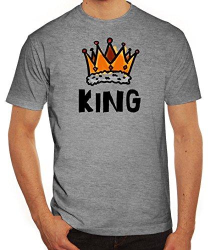 Geschenkidee Herren T-Shirt mit Crown King Motiv von ShirtStreet Graumeliert
