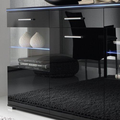 Sideboard in Hochglanz schwarz, mit 3 Türen und 1 Schubkasten, Maße: B/H/T ca.150/84/38 cm - 2