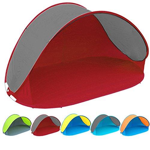 Pop Up Strandmuschel mit Boden und UV-Schutz UV60 - Maße: 220 x 120 x 100 - cm in verschiedenen Farben (Rot / Grau UV60)