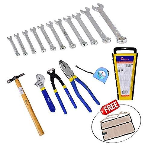 Kosma 7 Piece DIY Mechanics Tool Kit   Electricians Tools Kit   FREE 4 Pockets Cotton Garden Apron - Kit Pinza Chiave