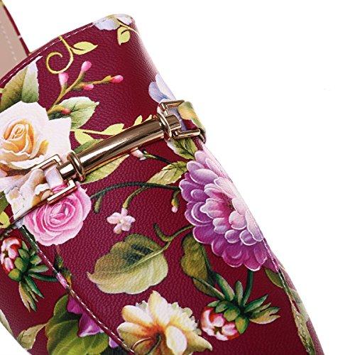 La Modeuse - Mocassins grande taille imprimé fleuris avec arrière ouvert Rouge