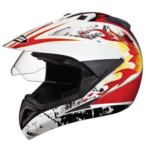 Studds Motocross D3 Helmet With Visor (White N10, XL)