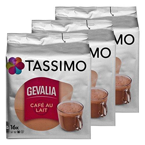 Tassimo Gevalia Cafe au Lait 3er Pack, Milchkaffee, Kaffee Kapseln, gemahlener Röstkaffee, 48 T-Discs / Portionen Tassimo T-discs Gevalia