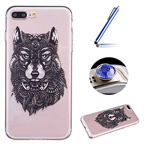 Etsue Transparent Handyhülle für iPhone 7 Plus Silikon Schutzhülle, Bunte Crystal Case Hülle Blumen Flower Schmetterling Wolf Muster Malerei TPU Case Kirstall Clear Case Durchsichtig Kratzfeste Bumper Wolf