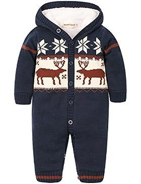 Zoerea Baby Jungen Mädchen Weihnachten Elch Winter Strickjacke Pullover Strampler Babymode Lange Ärmel mit Kapuze...