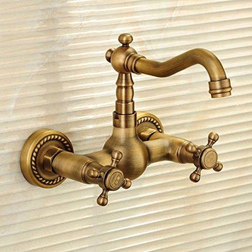 Preisvergleich Produktbild Cqq LED Wasserhahn Voller kupferner heißer und kalter drehender Hahn in die Wand doppelter Loch-Hahn
