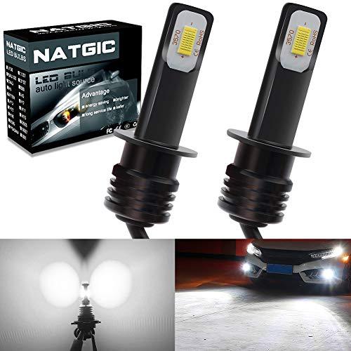 NATGIC H1 Ampoules LED haute puissance 78W 3570 CSP super lumineux 2400LM pour ampoules antibrouillard lumière courante 6500K blanc xénon, garantie de 2 ans (pack de 2)