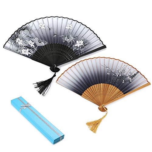 2 Stück Japanischer Handfächer mit Geschenkbox Hand Fans Bambus Fans mit Quaste Folding Fans Frauen Ausgehöhlten Bambus Hand Halten Fans für Wanddekoration, Geschenke (Beige & ()