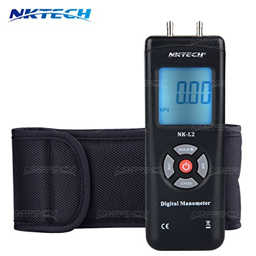 Multi-gas-tester (nktech 1890 Digital Manometer Differential Air Stärken Druck Meter ± 13.79kpa ± 2psi ± 55.4h2o Gas Tester Gauge Maßnahme Dual LCD-Display Hintergrundbeleuchtung 11 Wählbare Einheiten, NK-L2-Black, 1)