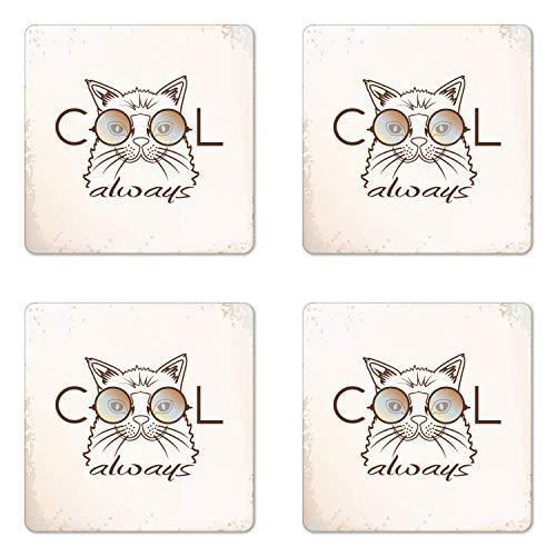 Cats Untersetzer 4er Set Always Cool Cat mit Sonnenbrille Grunge Stil Hintergrund Kritzel Stil Arrangement Quadratisch Hartfaserplatte Glanz Untersetzer Untersetzer Untersetzer Beige Braun