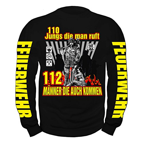 Männer und Herren Pullover 110 Jungs die man ruft 112 Männer die auch  kommen Schwarz