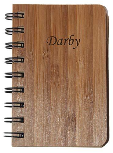Darby Metall (Notizbuch mit Holzdeckel mit eingraviertem Namen: Darby (Vorname/Zuname/Spitzname))