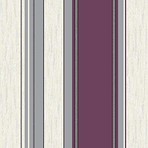 Vymura Synergy Stripe Papel pintado a rayas, color morado, blanco y plateado, ciruela, 10 m