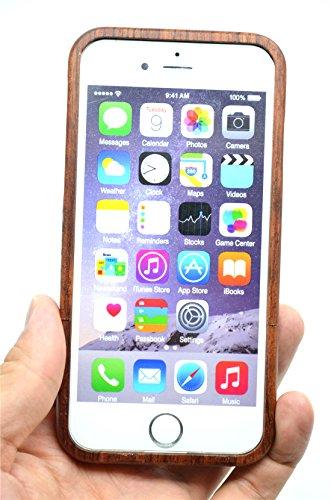 RoseFlower® Coque iPhone 6 Plus 5.5'' en Bois Véritable - Fleur rose bois mandala - Fabriqué à la main en Bois / Bambou Naturel Housse / Étui avec Gratuits Film de Protecteur Écran pour votre Smartpho Fleur rose bois mandala