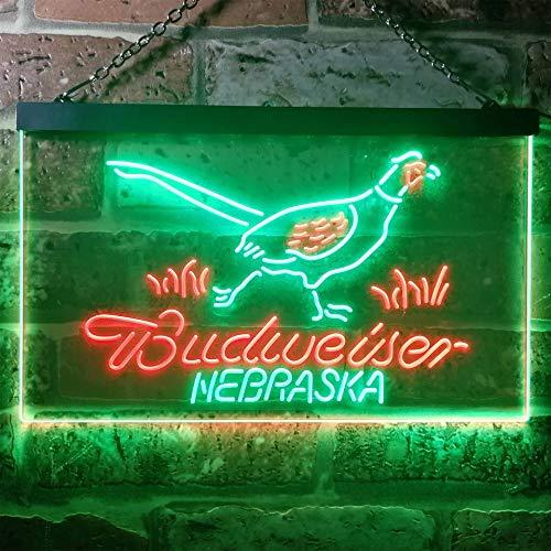 zusme Nebraska Pheasant Hunter Budweiser's Novelty LED Neon Sign Green + Red W40cm x H30cm -