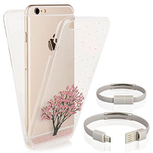 EGO® Double Touch Case komplette TPU Silikon Hülle für iPhone 7, Motiv 3 Katze 360 ° Grad vorne hinten Beidseitiger Schutz Full Handy Tasche transparent Front Back doppelseitig Motiv 1 + Kabel