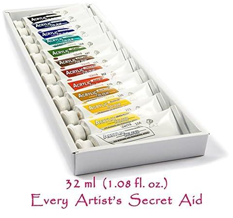 Daveliou Lot de peinture acrylique–12non toxique peintures acryliques 32ml–Couleurs vives
