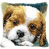 Hund Knüpfkissen für Kinder und Erwachsene zum Selber Knüpfen DIY Kissen Latch Hook Kit 41 x 41 cm
