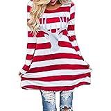 TWBB Kleid Damen, Mode Streifen Kleid runde Kragen Weihnachtselche langes Hülsen beiläufiges Kleid (L, rot)