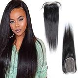 KAFEIER Brésilien Virgin Hair Lace Frontal Closure Peruvian Human Hair Extension Lace Closure de Cheveux Pas Cher Stright 6'X4' Partie libre Dark Brown 14 inch