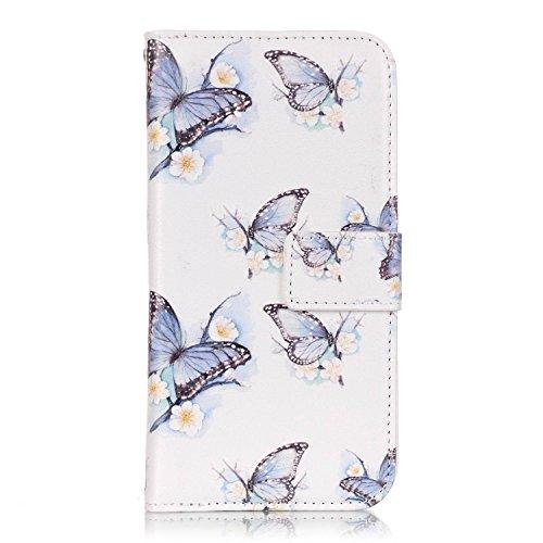 Hülle für Samsung Galaxy S7 Schmetterling,TOCASO Glitter Strass Bling Ledertasche Muster Weich PU Schutzhülle für Samsung Galaxy S7 Flip Cover Wallet Case Tasche Handyhülle mit Lanyard Strap Stand Fun #1#