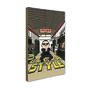 "Universal Music Officially Licensed ""PSY - GANGNAM STYLE"" Canvas Stretched on 1"" No Frame: Style#1 , Dimensions: 12"" X 24"" in Inches"