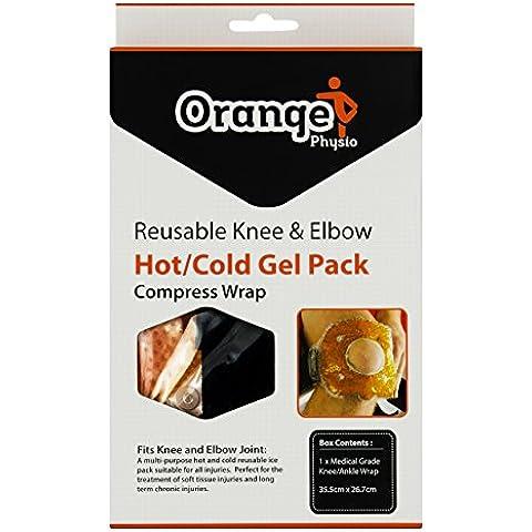 Compresa de Hielo y Calor Premium para Rodillas y Codos – Con Gran Funda de Comprensión para Reducir el Dolor e Inflamación - de Orange Physio