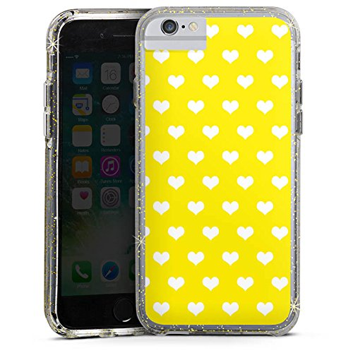 Apple iPhone 6s Bumper Hülle Bumper Case Glitzer Hülle Herzen Hearts Herzchen Bumper Case Glitzer gold