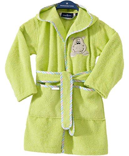 Morgenstern Kinderbademantel Grün mit Nilpferd und Kapuze einfarbig Grün Frottee Kleinkind Muster Gr. 86/92 Motive Tier Mädchen Jungen Bademantel