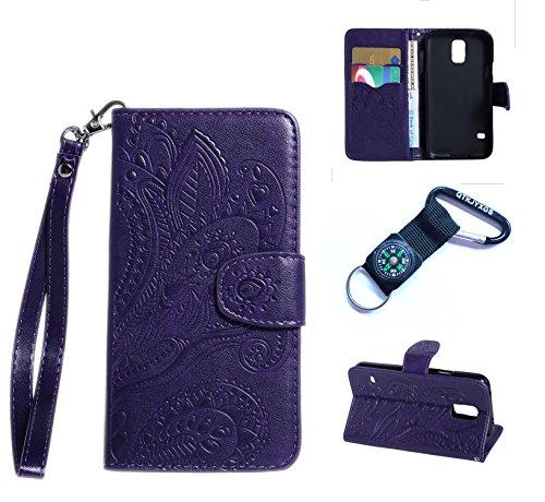 für Samsung Galaxy S5 Hülle Blume Premium PU Leder Schutzhülle für Samsung Galaxy S5 I9600 (5,1 Zoll (12,9 cm) Bookstyle Tasche Schale PU Case mit Standfunktion(+Outdoor Kompass Schlüsselanhänge)#M (5)