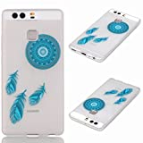 For Huawei P9/EVA-L09/EVA-L19/EVA-L29 (5.2 inches) Custodia Case, Ougger(TM) Trasparente Durable Slim TPU Gomma Silicone Flessibile Protettivo Bumper Rear Skin Cover Shell [Cool Fluorescenza Series] Design4