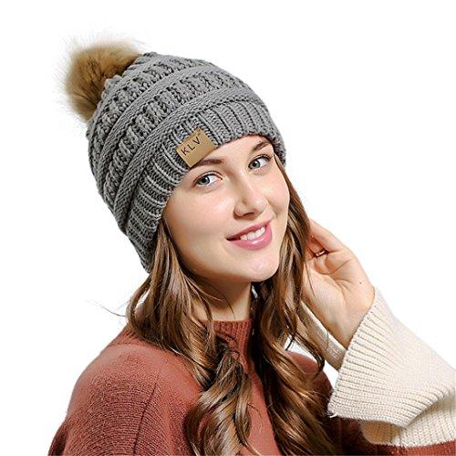 acbb9276b7ca1e Kanpola Mujeres Otoño Invierno Gorros, KLV Chicas Croché Bulbo Peludo  Sombreros Cálido Gorros de Punto