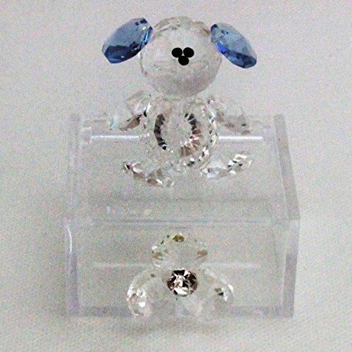 Dlm24204-azzurro scatoline in plexiglas con orsetto e fiore in cristallo_azzurro bomboniera