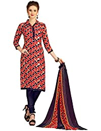 4e984f570c7 Minu Suits Fire Red Cotton Salwar Suits Sets