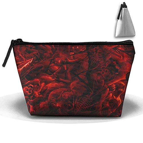 Scary Skulls Horrible Halloween Waterproof Trapezoidal Bag Cosmetic Bags Makeup Bag Large Travel Toiletry Pouch Portable Storage Pencil Holders (Herren Scary Halloween Makeup)
