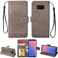 Yobby Leder Brieftasche Hülle für Samsung Galaxy S8, Grau Handyhülle Geprägt Mandala Muster Schlank Premium PU... preisvergleich bei billige-tabletten.eu