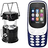 IKALL K3310 (Dark Blue) Dual Sim 1.8 Inch Display Mobile With Solar Powered LED Rechargeable Lantern (Black)