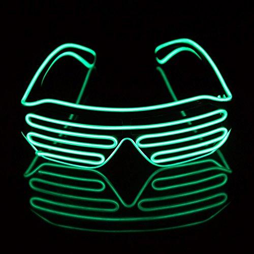 (JIAMA LED Beleuchten Kostümgläser, EL-Drahtart und Weise-Neonverschluß Elektrolumineszierende Blinkende LED-Sonnenbrille mit Batteriekastenprüfer für Halloween-Weihnachtsgeburtstags-Partybevorzugung (Grün))