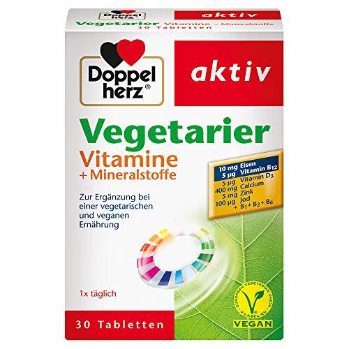 Doppelherz Vegetarier Vitamine + Mineralstoffe – Nahrungsergänzung mit B-Vitaminen sowie mit Zink und Eisen – Zur Ergänzung einer vegetarischen oder veganen Ernährung – 1 x 30 Tabletten