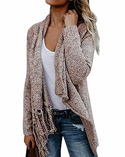 BIUBIU Damen Asymmetrisch Strickjacke Langarm Pullover Cardigan Khaki XL (Front-strickjacke-pullover)