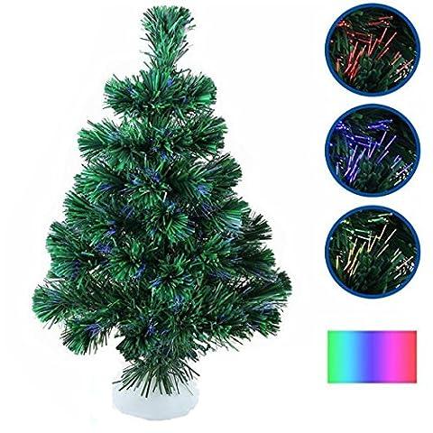 OCDAY Mini Künstlicher Weihnachtsbäume: LED-Weihnachtsbaum mit Glasfaser-Farbwechsler (LED Tannenbaum) , 45cm