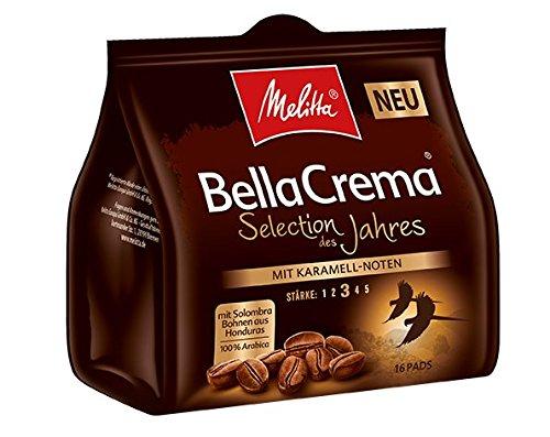 Melitta Gemahlener Röstkaffee in Kaffeepads, 100 % Arabica, weiches Aroma mit Karamell-Note, mittlerer Röstgrad, Stärke 3, Melitta BellaCrema, Selection des Jahres 2018, 10 x 16 Pads