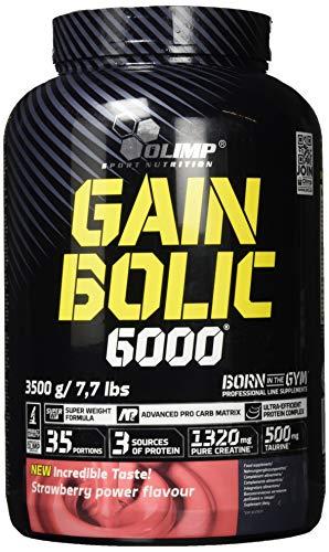 Olimp Gain Bolic 6000 | Kohlenhydrat-Präparate mit Mehrkomponenten Proteine | Taurin | Erdbeere Geschmack | 3,5 kg