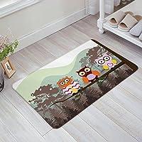 HomeCreator Funny Forest Owl Door Mats Kitchen Floor Bath Entrance Rug Mat Absorbent Indoor Bathroom Decor Doormats Rubber Non Slip
